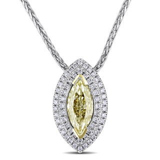 Miadora 14k White Gold 1ct TDW Fancy Yellow Marquise Diamond Necklace (SI1-SI2)