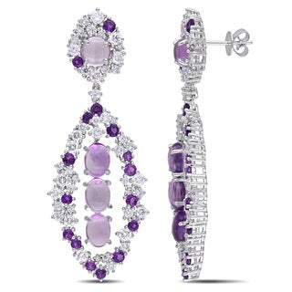 Miadora Signature Collection 14k White Gold 3 1/2ct TDW Diamond and Amethyst Earrings (G-H, SI1-SI2)