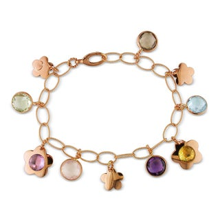 Miadora 18k Rose Gold 22ct TGW Multi-gemstone Charm Bracelet