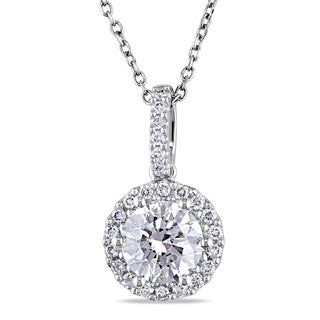 Miadora 14k Gold 1 1/5ct TDW Certified Halo Diamond Necklace (G, I1) (GIA)