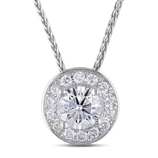 Miadora 14k White Gold 1 1/3ct TDW Diamond Halo Necklace (G-H, I1-I2)