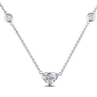 Miadora 14k White Gold 1 5/8ct TDW Diamond-By-the-Yard Heart Necklace (H-I, I1-I2)