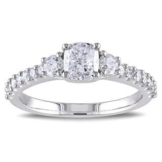 Miadora 14k White Gold 1 1/5ct TDW Cushion Cut Diamond Ring (G-H, I1-I2)
