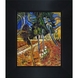 Vincent Van Gogh 'Trees in the Garden of St. Paul Hospital' Hand-painted Framed Canvas Art