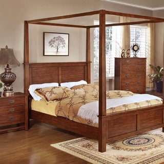 Sunny Honey Oak 3-piece Poster Bed Set