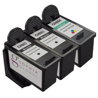 Sophia Global Dell CH883/ CH884 Ink Cartridge Replacement (2 Black, 1 Color) (Remanufactured)