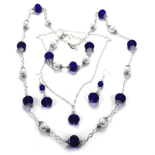 Navy Blue Crystal and White Glass Pearl 4-piece Jewelry Set