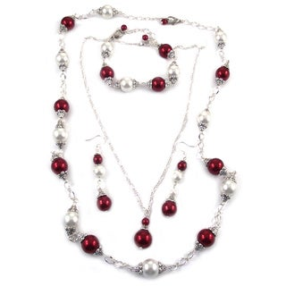 Red/ White Glass Pearl 4-piece Jewelry Set