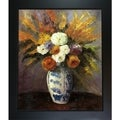 Paul Cezanne 'Dahlias' Hand-painted Framed Canvas Art