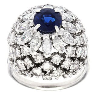 Platinum 4ct TDW Sapphire Dome Estate Ring (H-I, SI1-SI2)