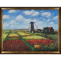 Claude Monet 'Tulip Field' Hand-painted Framed Canvas Art