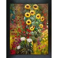 Gustav Klimt 'Farm Garden with Sunflowers' Hand-painted Framed Canvas Art