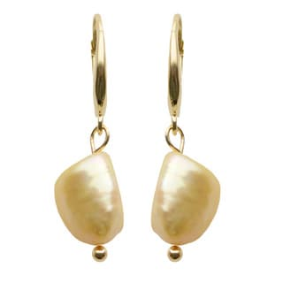 Pearls For You 14k Yellow Gold Golden Baroque Freshwater Pearl Drop Leverback Earrings (9-10 mm)