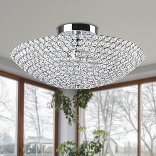 Leila 3-light Chrome Bowl-shaped Crystal Flush Mount