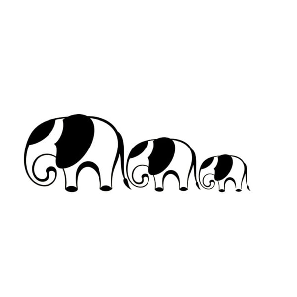 Mom and Baby Elephants Black Ears Animal Wall Vinyl Decal