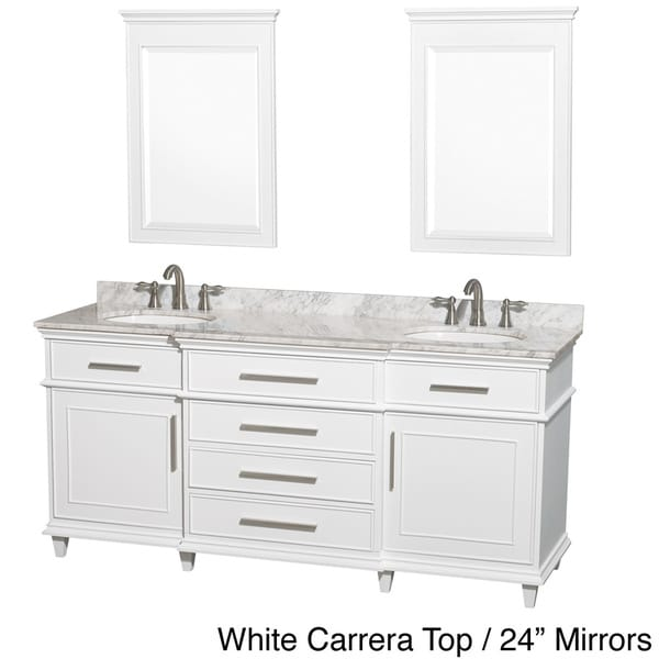 Wyndham Collection Berkeley 72inch White Double Bathroom Vanity