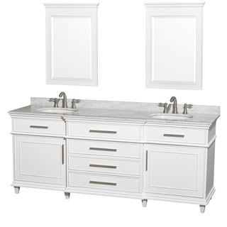 Wyndham Collection Berkeley White 80-inch Double Bathroom Vanity