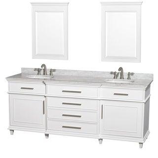 Wyndham Collection Berkeley White 80-inch Double Bathroom Vanity