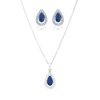 Blue Box Jewels Rhodium Over Silver EQ Star Blue/ White Cubic Zirconia Teardrop Jewelry Set