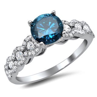 18k White Gold 1 1/3ct TDW Certified Blue Round Diamond Engagement Ring (F-G, SI1-SI2)