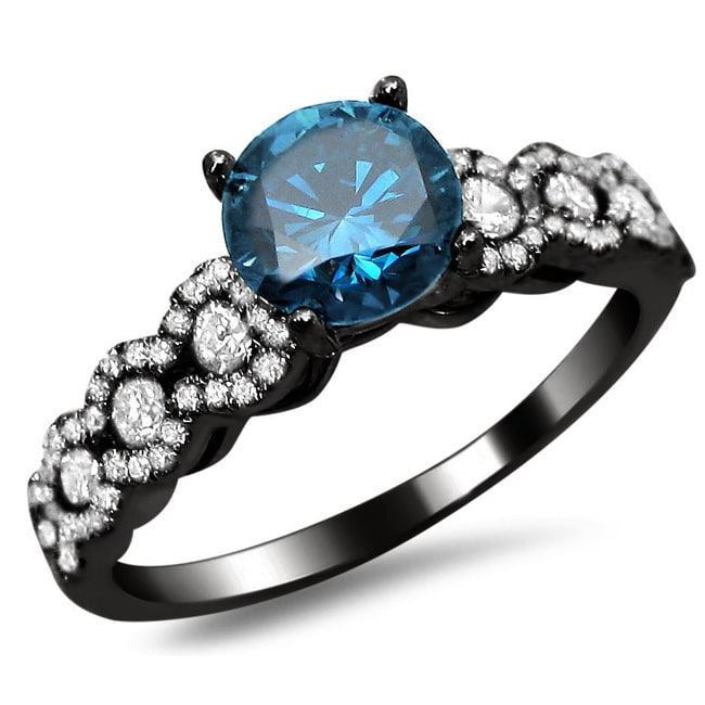 Overstock.com 18k Black Gold 1 1/3ct TDW Certified Blue and White Round Diamond Engagement Ring (F-G, SI1-SI2)