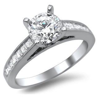 14k White Gold 1 1/4ct Certified Round Princess Cut Diamond Engagement Ring (G-H, SI1-SI2)