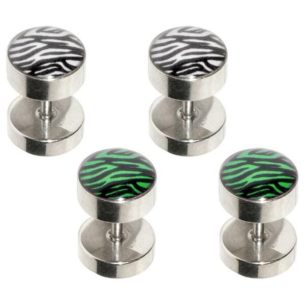 Supreme Jewelry Zebra Design Fake Plug Earring (Pack of 4)