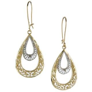 14k Two-tone Gold Diamond-cut Double Teardrop Earrings