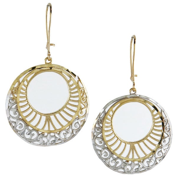 14K Two-tone Fashionable Gold Diamond-cut Circle Drop Earings