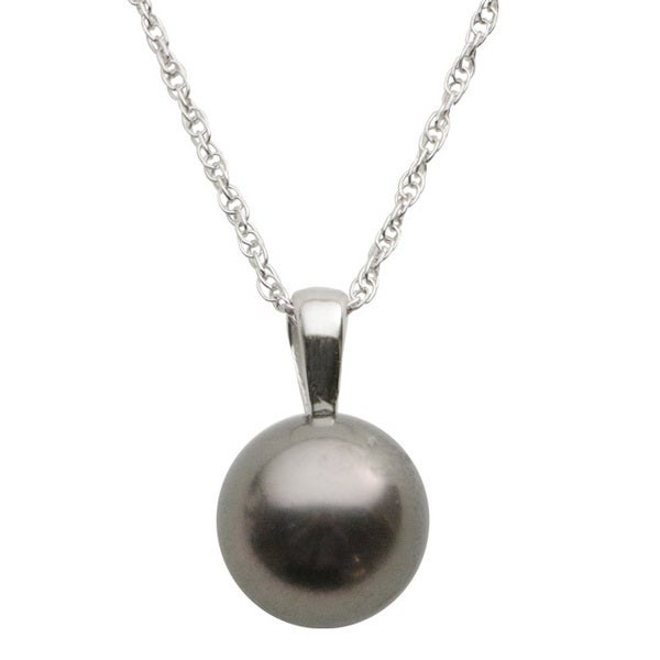 Pearls For You 14k White Gold Tahitian Pearl Solitaire Pendant (9-10 mm)