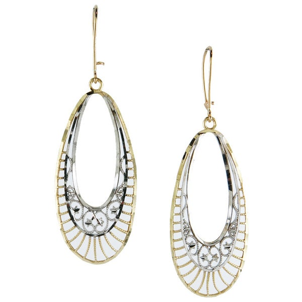 14k Two-tone Gold Diamond-cut Oval Drop Earrings