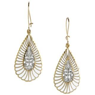 14k Two-tone Fashionable Gold Diamond-cut Teardrop Dangle Earrings