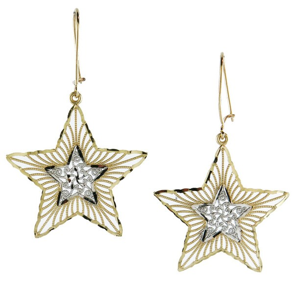 14k Two-tone Gold Fashionable Diamond-cut Star Drop Earrings 12388709