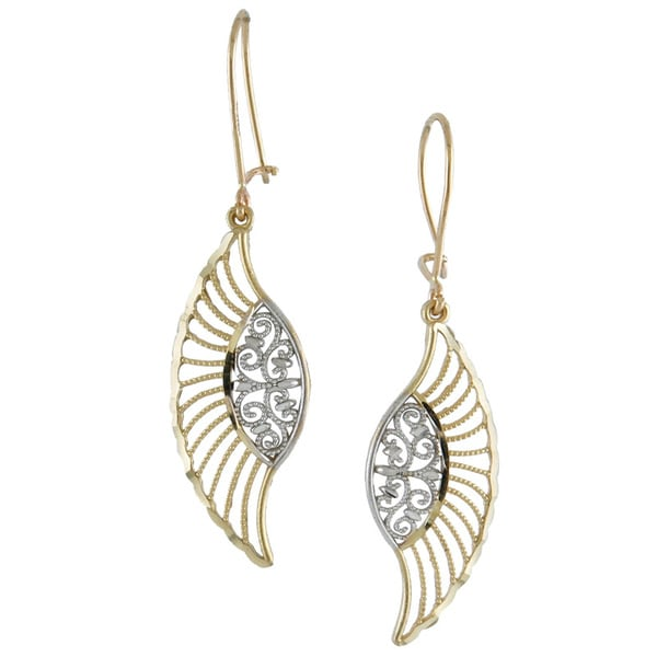 14k Two-tone Gold Diamond-cut Wing-shaped Drop Earings