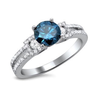 18k White Gold 1 1/6ct TDW Certified Blue and White Round Diamond Engagement Ring (F-G, SI1-SI2)