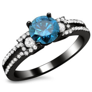18k Black Gold 1 1/6ct TDW Certified Blue and White Round Diamond Engagement Ring (F-G, SI1-SI2)