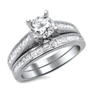 14k White Gold 1 1/2ct Round Princess Cut Diamond Engagement Ring Set (G-H, SI1-SI2)