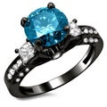 14k Black Gold 1 7/10ct Certified 3-stone Blue and White Round Princess Cut Diamond Engagement Ring (F-G, SI1-SI2)