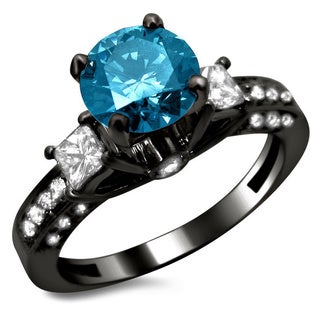14k Black Gold 1 1/2ct Certified 3-stone Blue and White Round Princess Cut Diamond Engagement Ring (F-G, SI1-SI2)