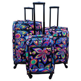 Kemyer Wild Flower 3-piece Expandable Spinner Luggage Set