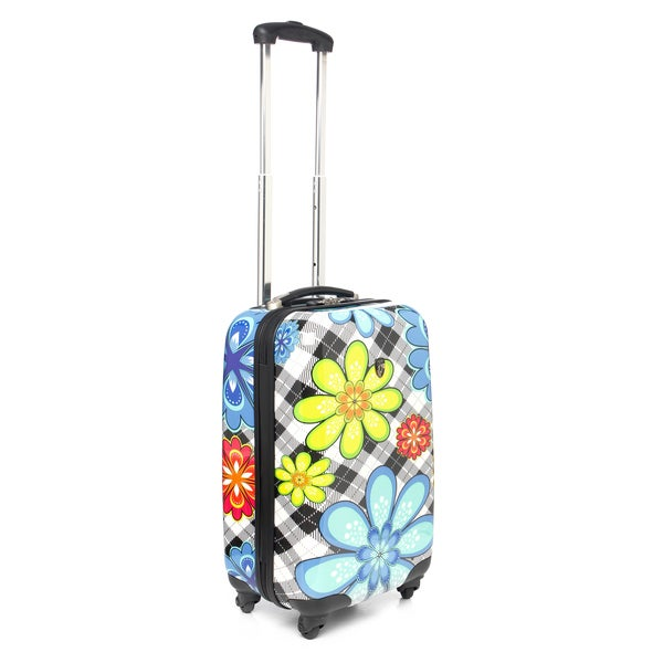 Heys USA Plaid Flower 20-inch Hardside Carry-on Spinner Upright