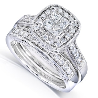 Annello 14k White Gold 3/4ct TDW Princess Quad Diamond 2-ring Miligrain Bridal Set (H-I, I1-I2)