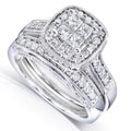 Annello 14k White Gold 3/4ct TDW Princess Quad Diamond 2-Ring Bridal Set (H-I, I1-I2)