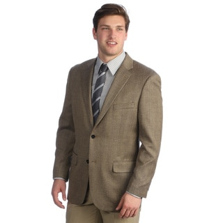 Tasso Elba Men's Khaki Silk Wool Herringbone Sport Coat