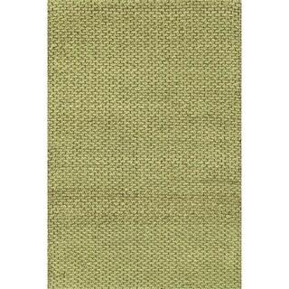 Hand-woven Natural Green Jute Rug (3'6 x 5'6)
