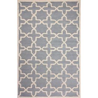 nuLOOM Handmade Moroccan Trellis Blue Wool Rug (8'6 x 11'6)