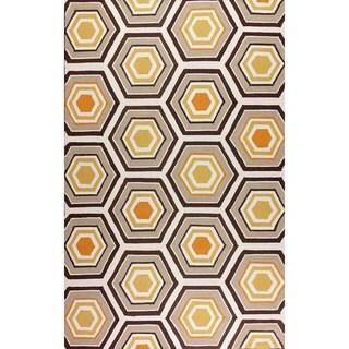 nuLOOM Hand-hooked Honeycomb Wool Brown Rug (7'6 x 9'6)