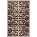 nuLOOM Hand-hooked Damask Wool Brown Rug (7'6 x 9'6)