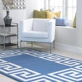 nuLOOM Hand-tufted Greek Key Border Blue Wool Rug (7'6 x 9'6)