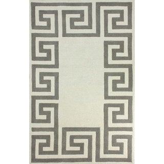 nuLOOM Hand-tufted Greek Key Border Ivory Wool Rug (8'6 x 11'6)